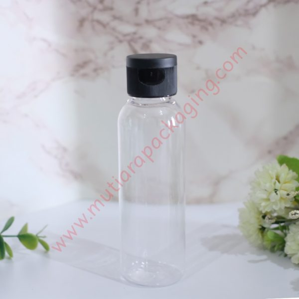 Botol Fliptop 100ml Natural tutup Hitam