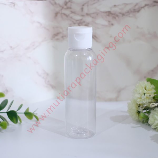 Botol Fliptop 100ml Natural tutup Putih