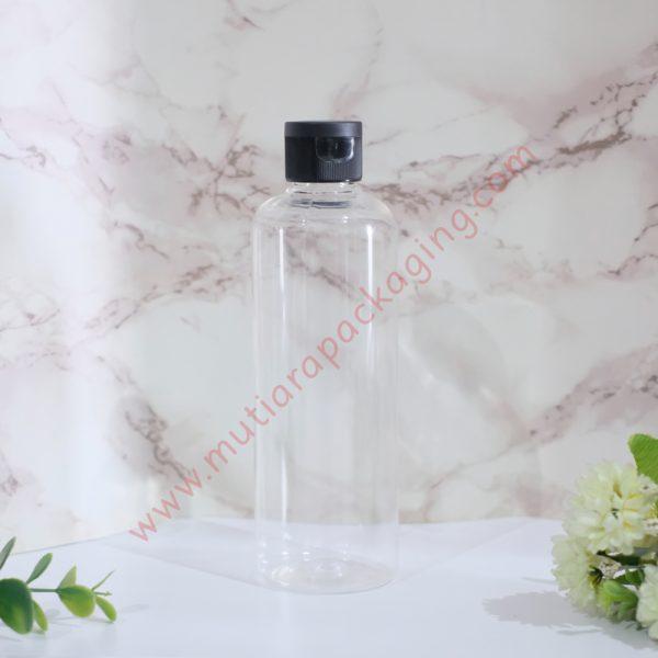 Botol Fliptop 250ml Natural tutup Hitam