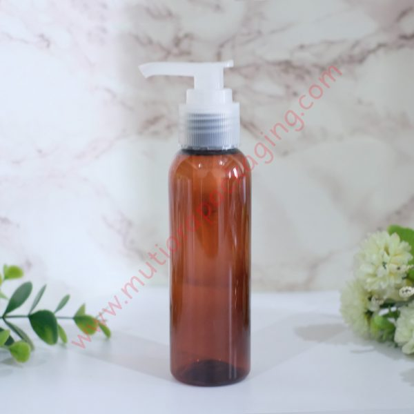 Botol Pump 100ml Amber tutup Natural