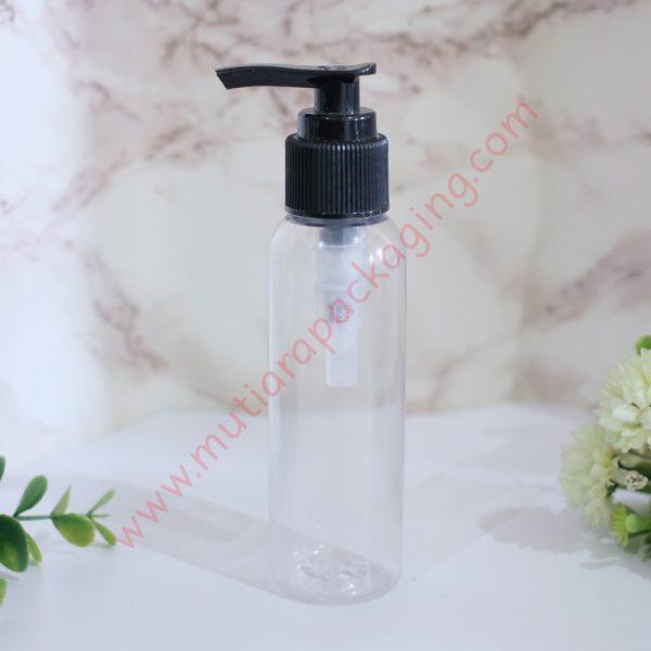 Botol Pump 100ml Natural tutup Hitam