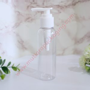 BOTOL PUMP 100ML NATURAL TUTUP HITAM