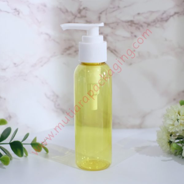 Botol Pump 100ml Yellow tutup Putih