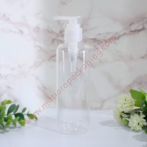 BOTOL PUMP 250ML NATURAL TUTUP HITAM