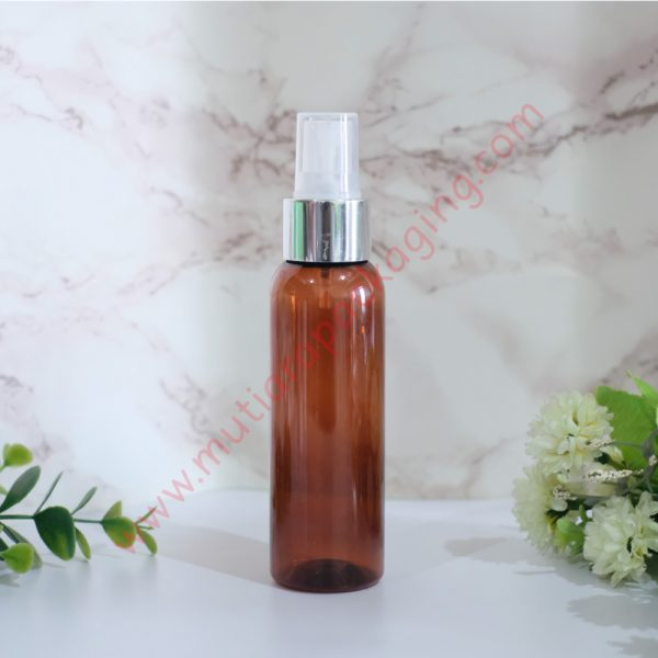 Botol Spray 100ml Amber tutup Silver Metalic