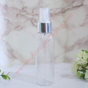 Botol Spray 100ml Natural tutup Silver Metalic