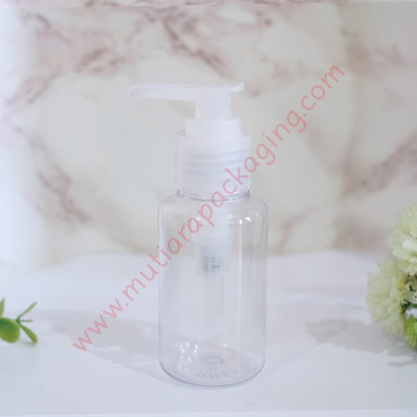 Botol Tubular 60ml Pump Natural tutup Bening
