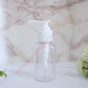 BOTOL TUBULAR 60ML PUMP NATURAL TUTUP HITAM