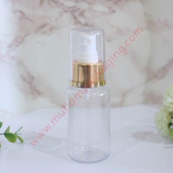 Botol Tubular 60ml Spray Bening tutup Gold Full