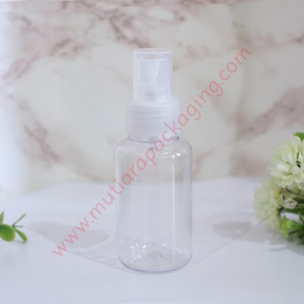 Botol Tubular 60ml Spray Bening tutup Natural