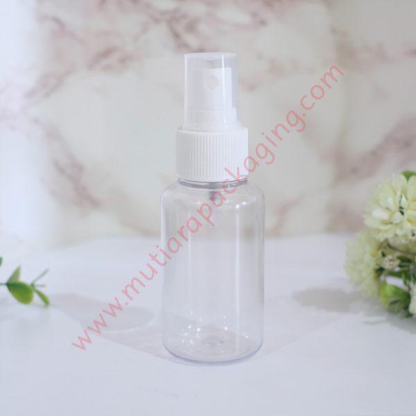 Botol Tubular 60ml Spray Bening tutup Putih