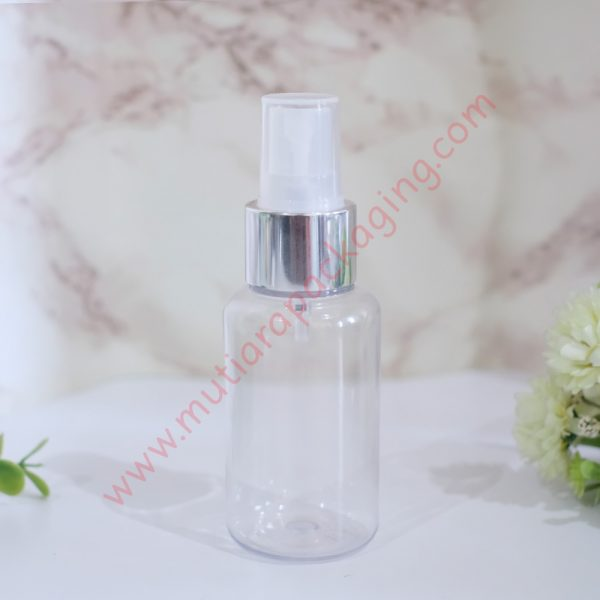 Botol Tubular 60ml Spray Bening tutup Silver Metalic