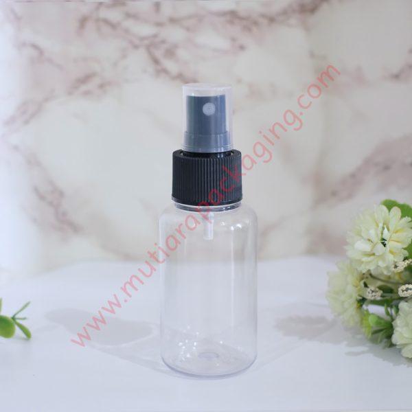 Botol Tubular 60ml Spray Natural tutup Hitam