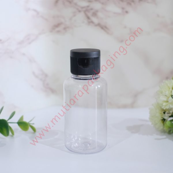 Botol tubular fliptop 60ml Natural tutup Hitam