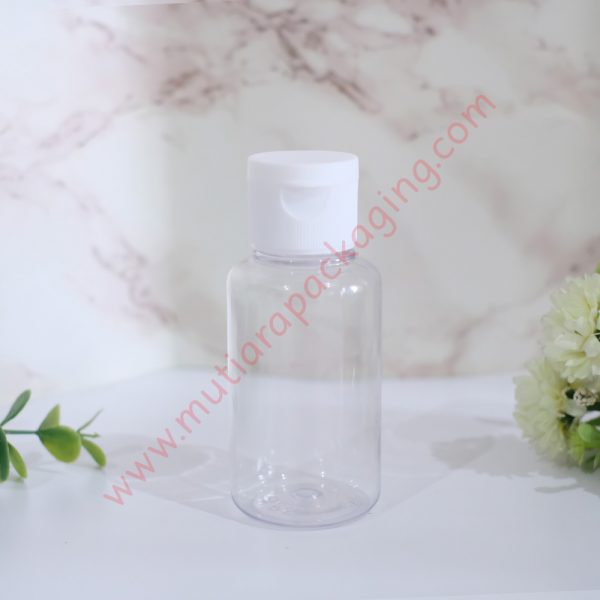Botol tubular fliptop 60ml Natural tutup Putih