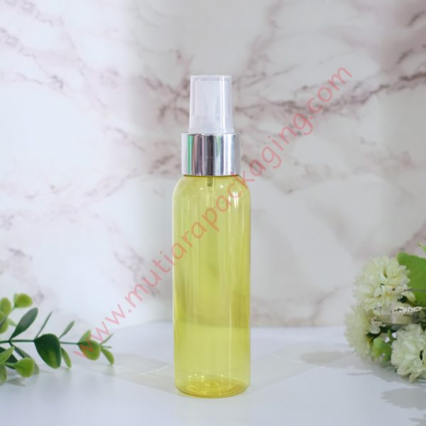 botol Spray 100ml Yellow tutup Silver Metalic