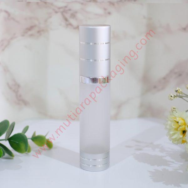 botol airless silinder 20ml frozen silver