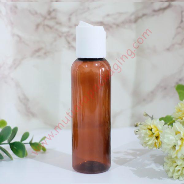 botol disktop 100ml amber tutup putih