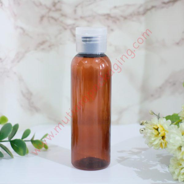 botol fliptop 100ml amber tutup natural