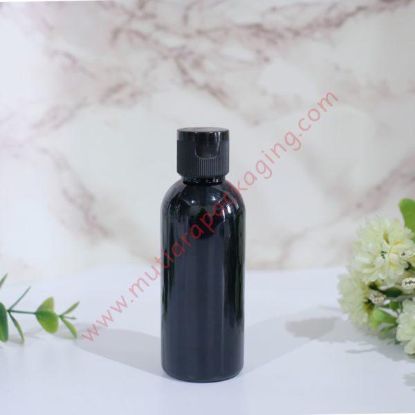 botol fliptop 60ml hitam tutup hitam