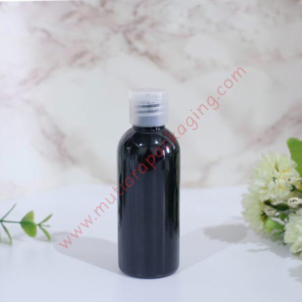 botol fliptop 60ml hitam tutup natural