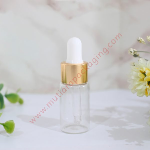 botol pipet kaca bening 10ml ring gold tutup putih