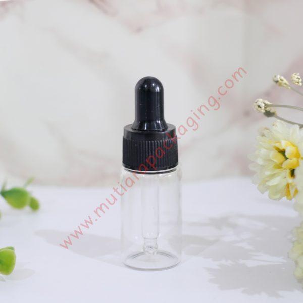 botol pipet kaca bening 10ml tutup hitam