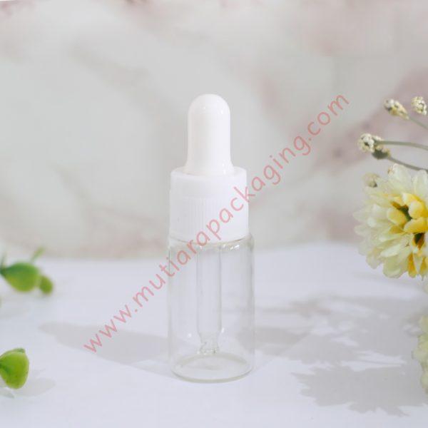 botol pipet kaca bening 10ml tutup putih