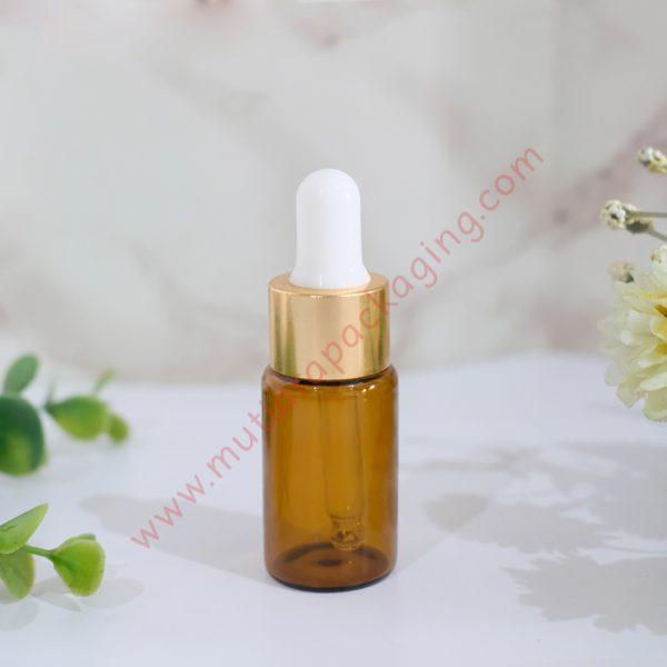 botol pipet kaca coklat 10ml ring gold tutup putih