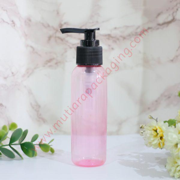 botol pump 100ml pink tutup hitam