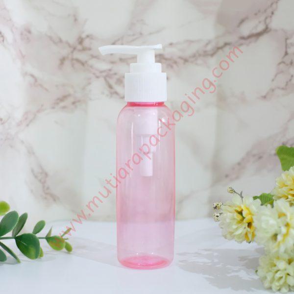 botol pump 100ml pink tutup putih