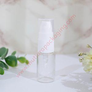 botol pump kaca bening 10ml tutup putih