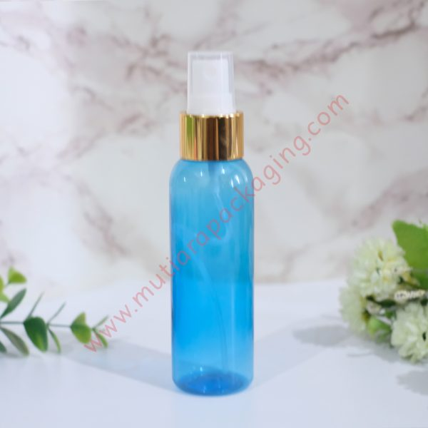 botol spray 100ml biru tutup gold